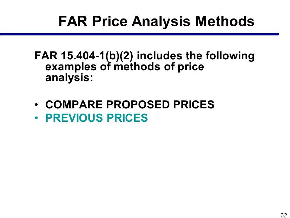 FAR Price Analysis Methods