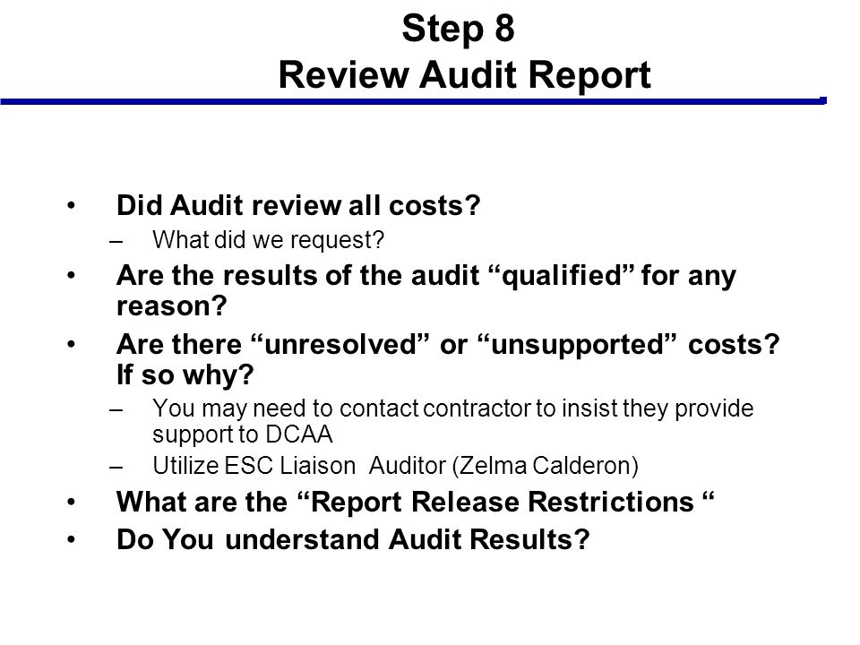 Step 8 Review Audit Report