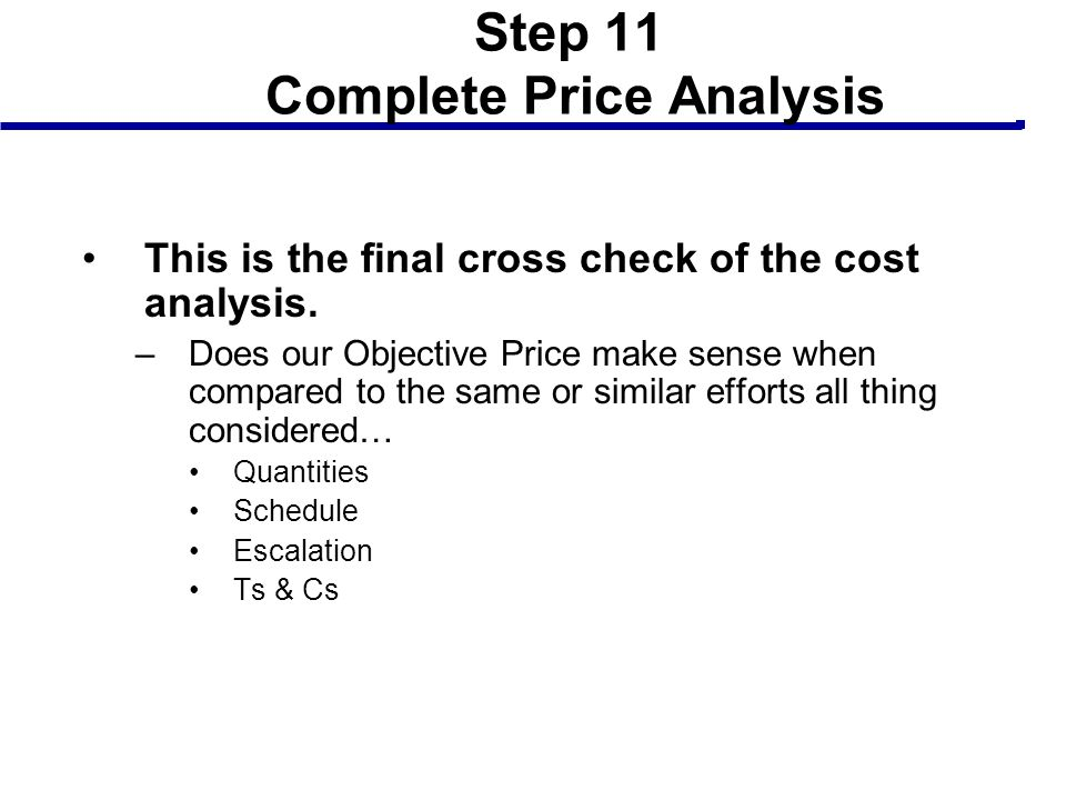 Step 11 Complete Price Analysis