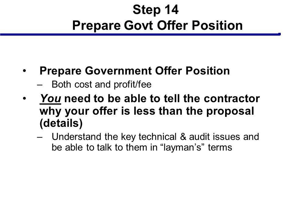 Step 14 Prepare Govt Offer Position
