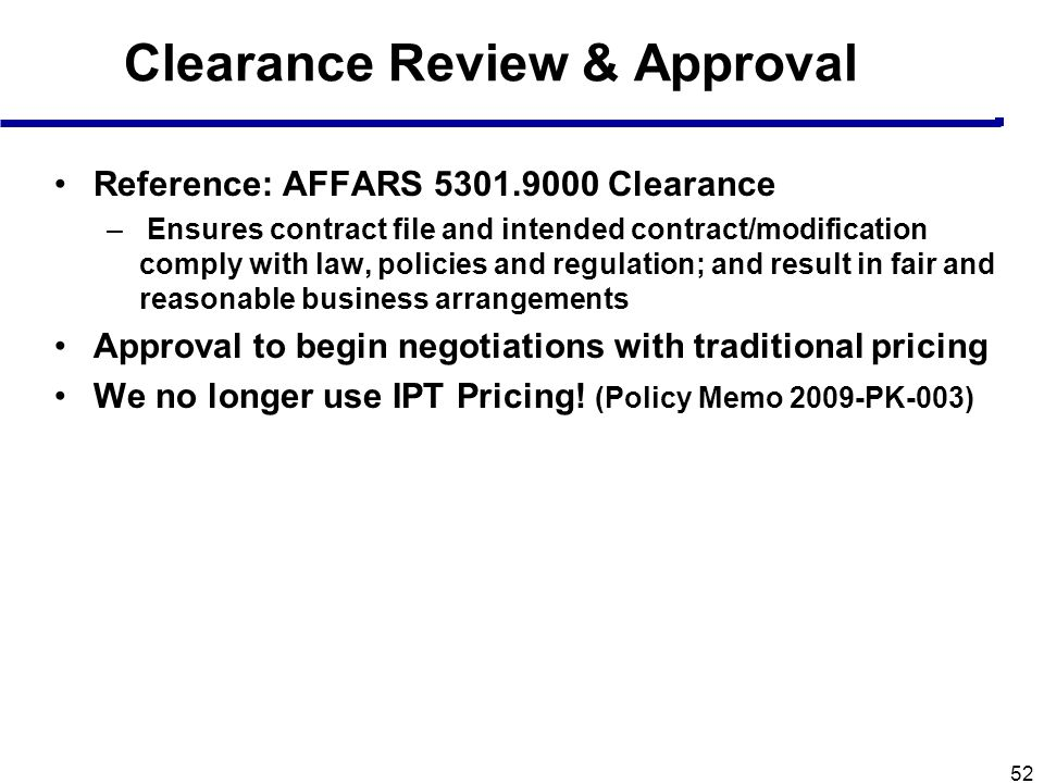 Clearance Review & Approval