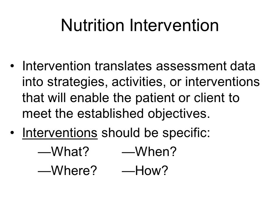 Nutrition Intervention