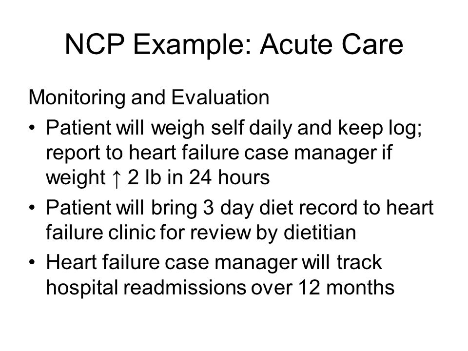 NCP Example: Acute Care