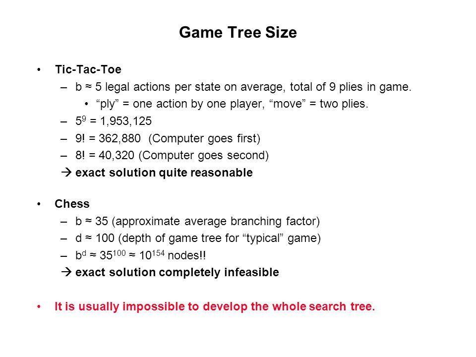 Game Tree Size Tic-Tac-Toe