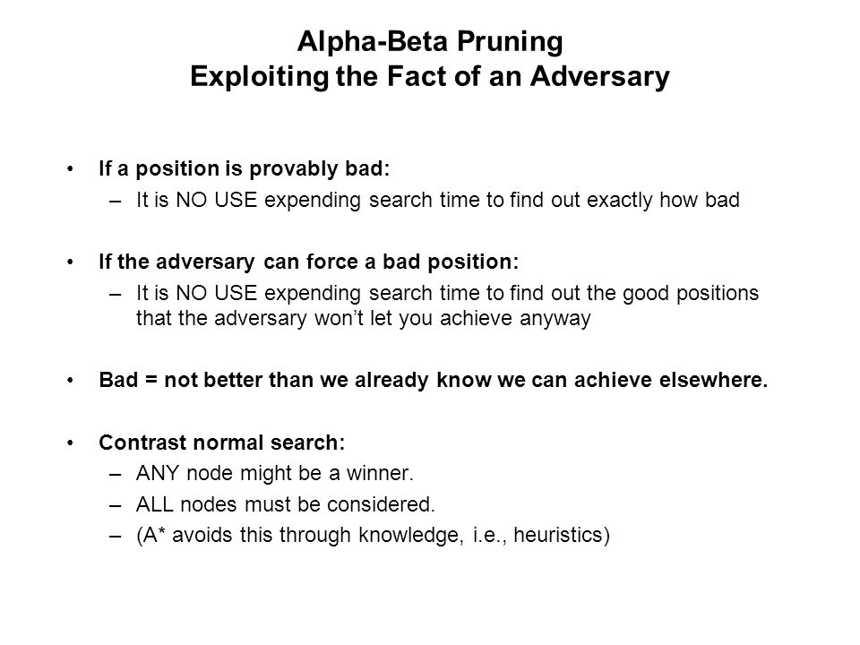 Alpha-Beta Pruning Exploiting the Fact of an Adversary