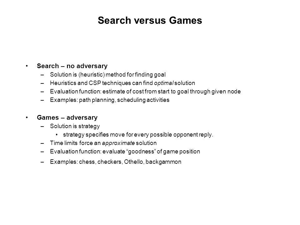 Search versus Games Search – no adversary Games – adversary