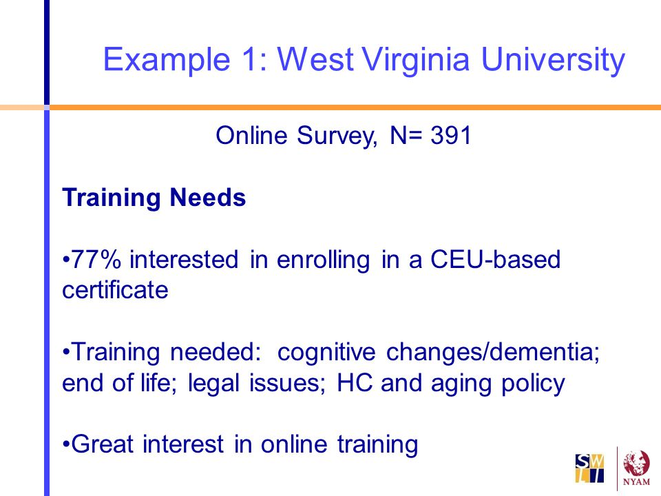 Example 1: West Virginia University