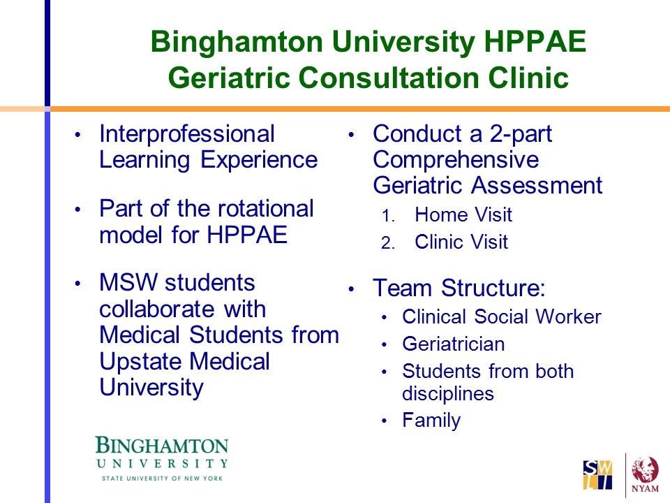 Binghamton University HPPAE Geriatric Consultation Clinic