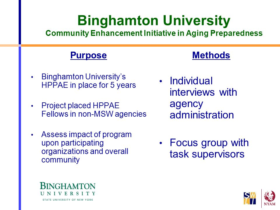 Binghamton University Community Enhancement Initiative in Aging Preparedness