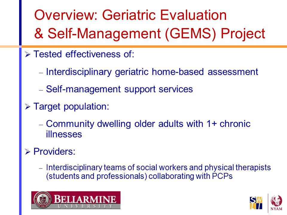 Overview: Geriatric Evaluation & Self-Management (GEMS) Project