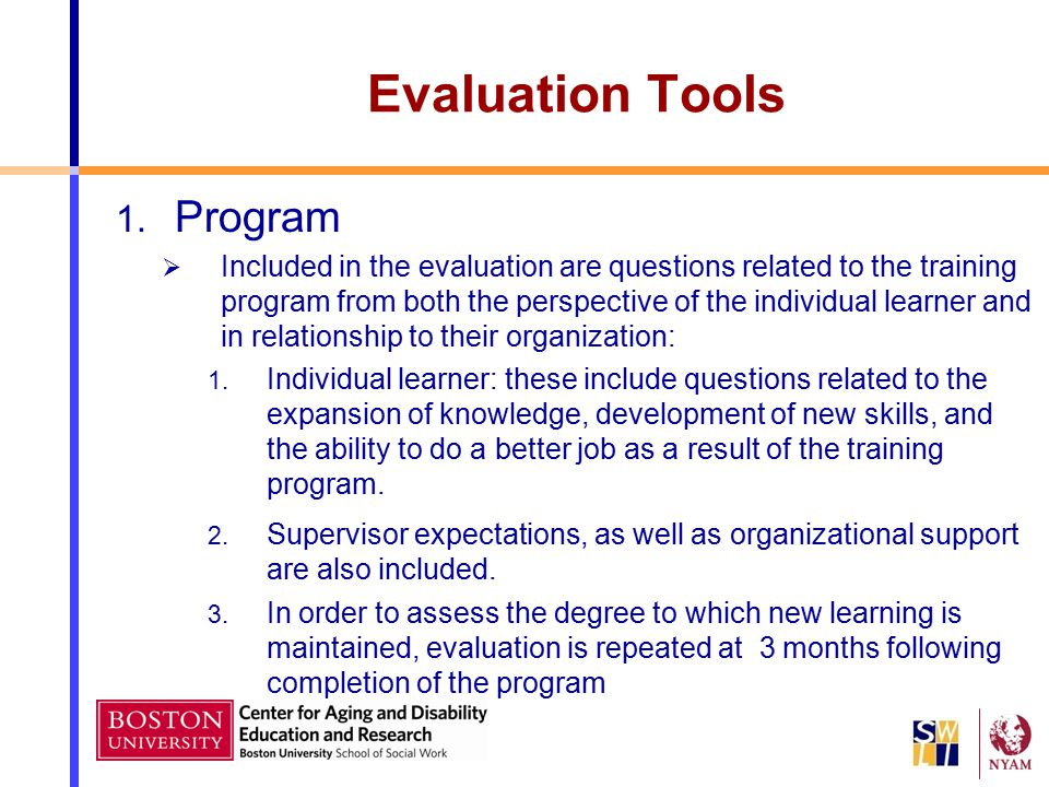 Evaluation Tools Program