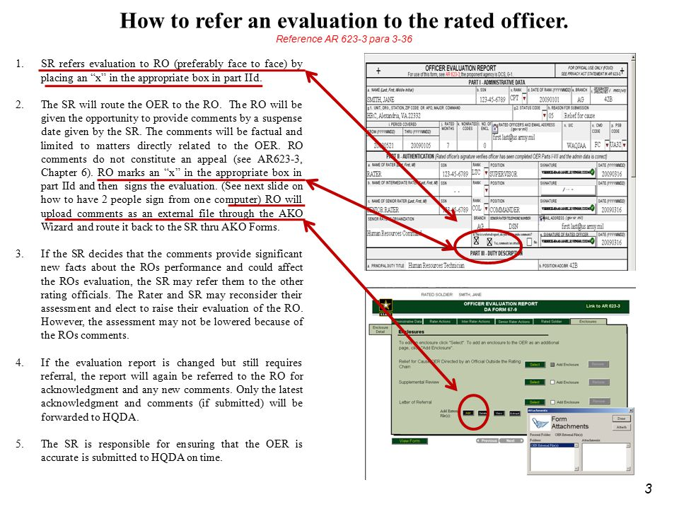 How to refer an evaluation to the rated officer.