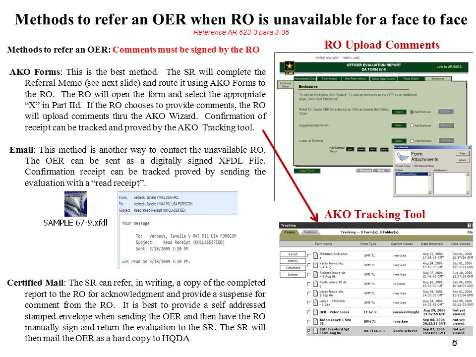 Methods to refer an OER when RO is unavailable for a face to face