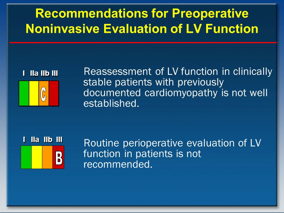 Recommendations for Preoperative Noninvasive Evaluation of LV Function