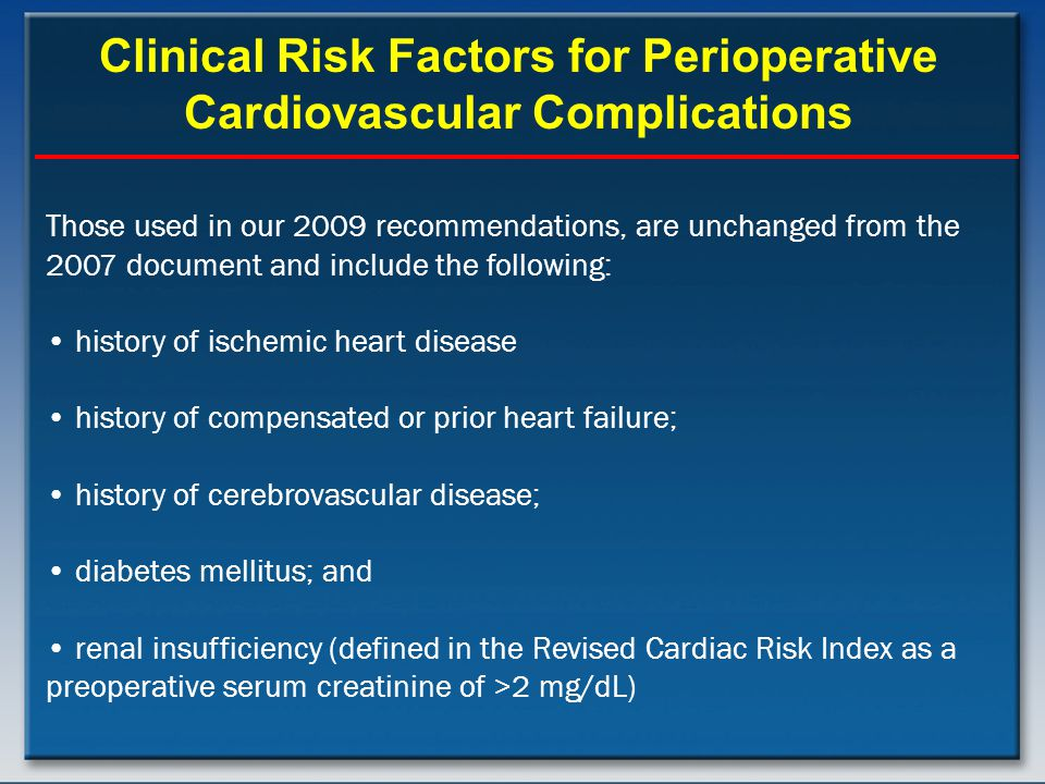 Clinical Risk Factors for Perioperative Cardiovascular Complications