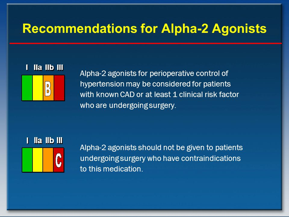 Recommendations for Alpha-2 Agonists