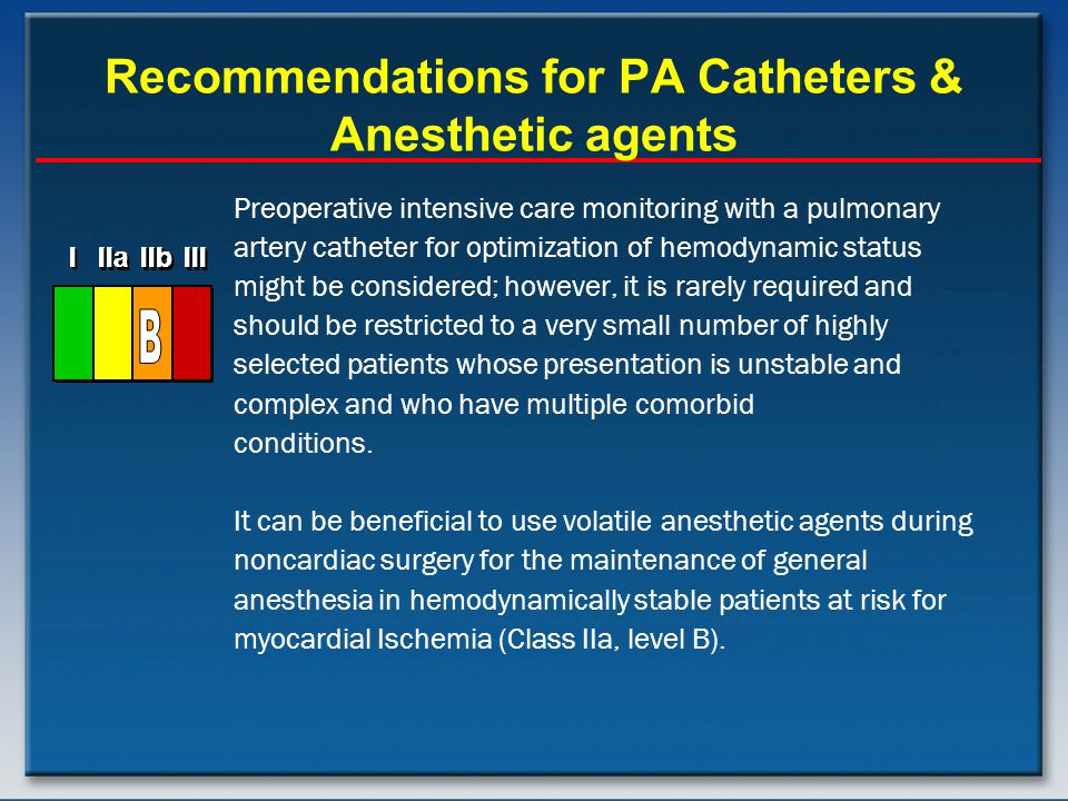 Recommendations for PA Catheters & Anesthetic agents