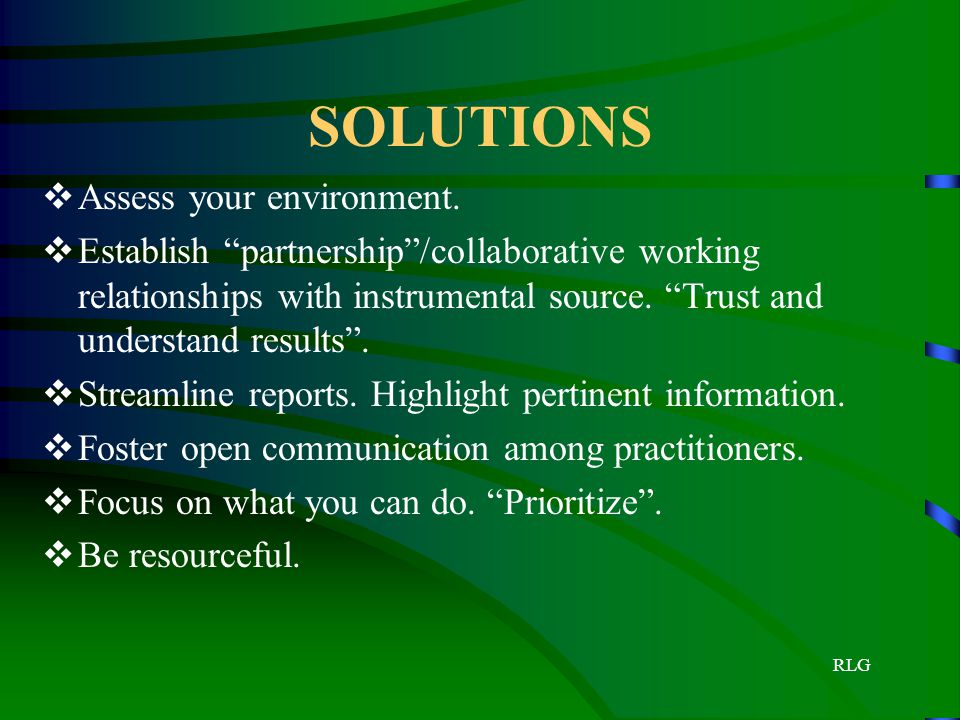 SOLUTIONS Assess your environment.