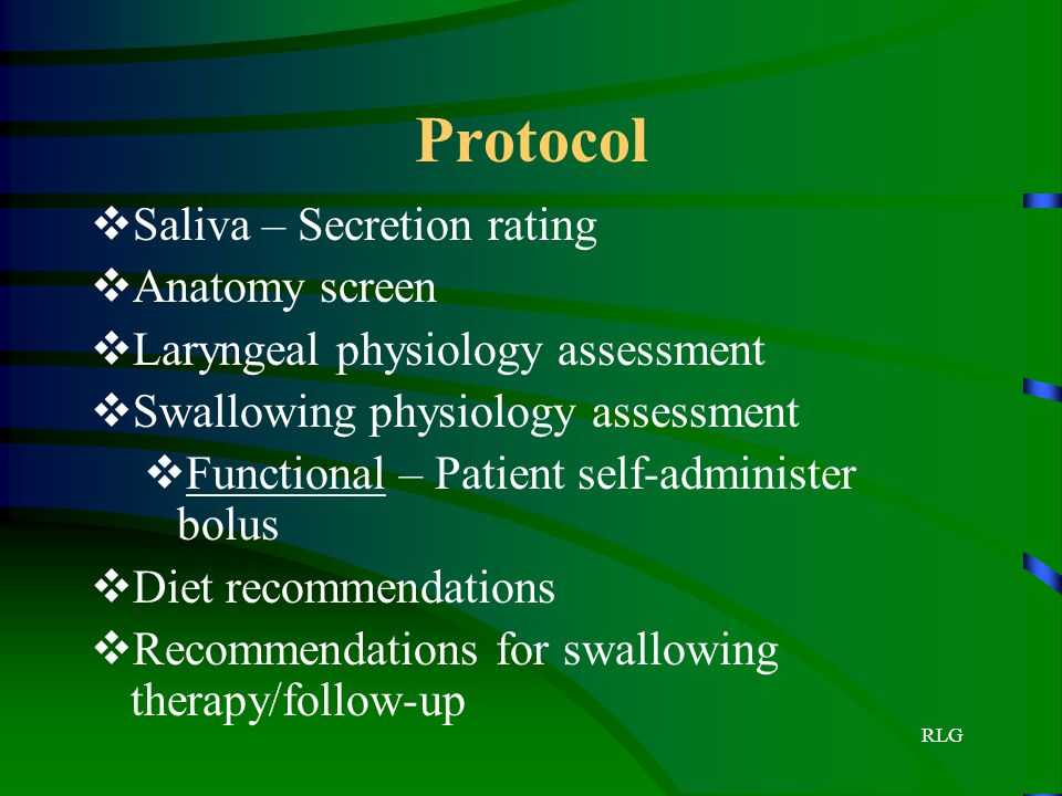Protocol Saliva – Secretion rating Anatomy screen