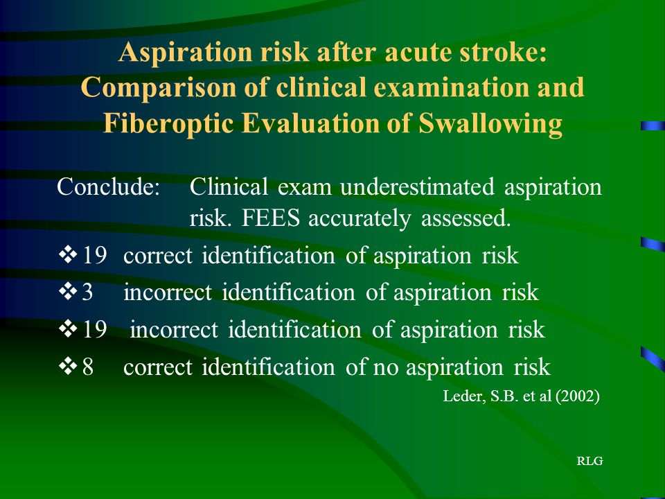 Aspiration risk after acute stroke: Comparison of clinical examination and Fiberoptic Evaluation of Swallowing