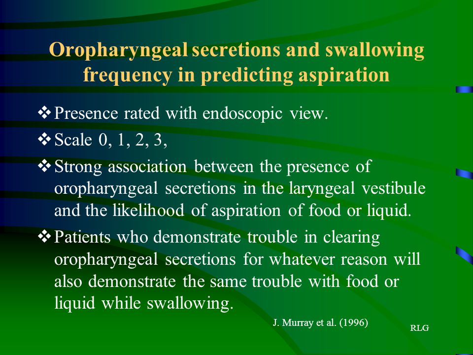 Oropharyngeal secretions and swallowing frequency in predicting aspiration