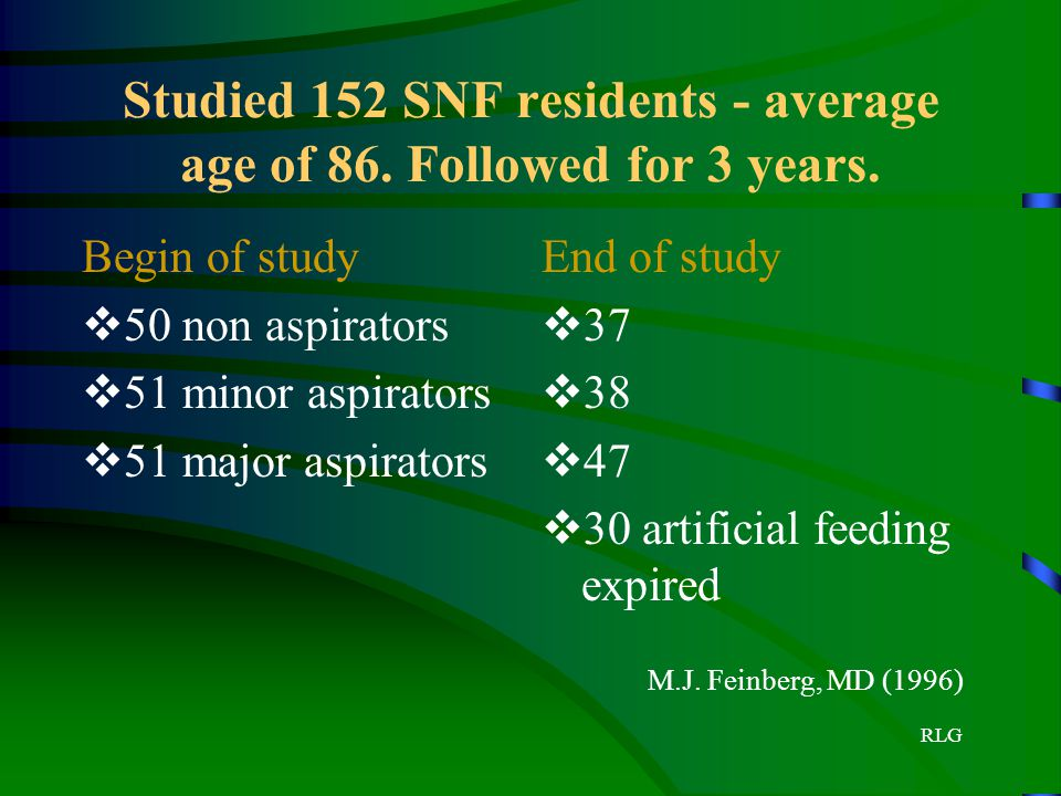 Studied 152 SNF residents - average age of 86. Followed for 3 years.