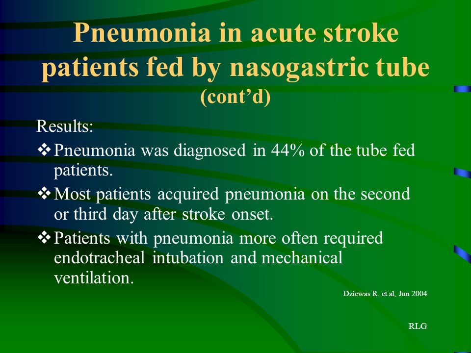 Pneumonia in acute stroke patients fed by nasogastric tube (cont'd)