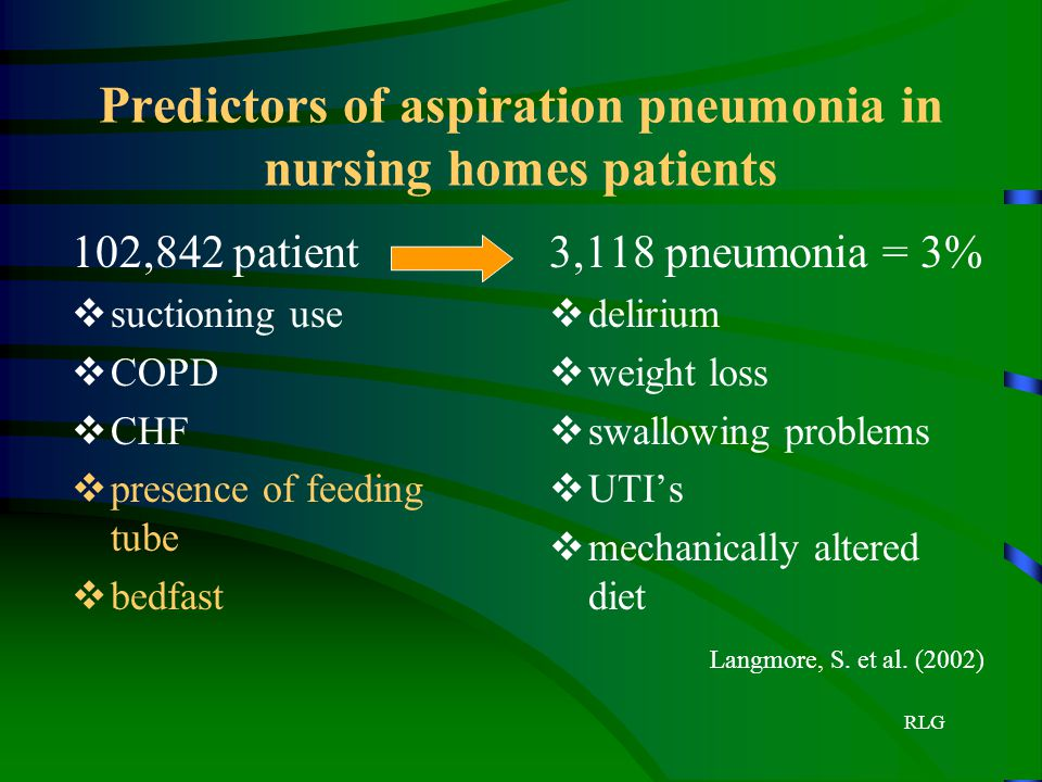 Predictors of aspiration pneumonia in nursing homes patients