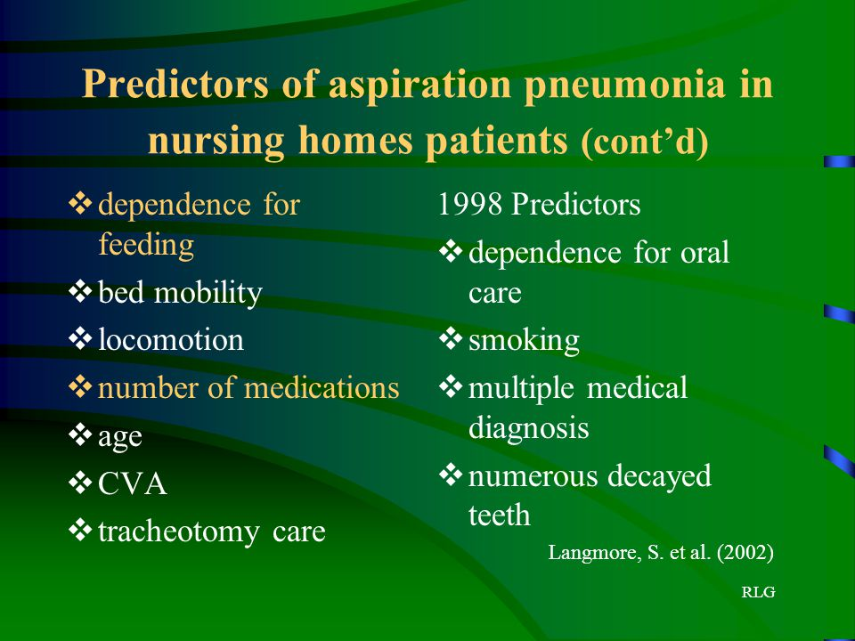 Predictors of aspiration pneumonia in nursing homes patients (cont'd)