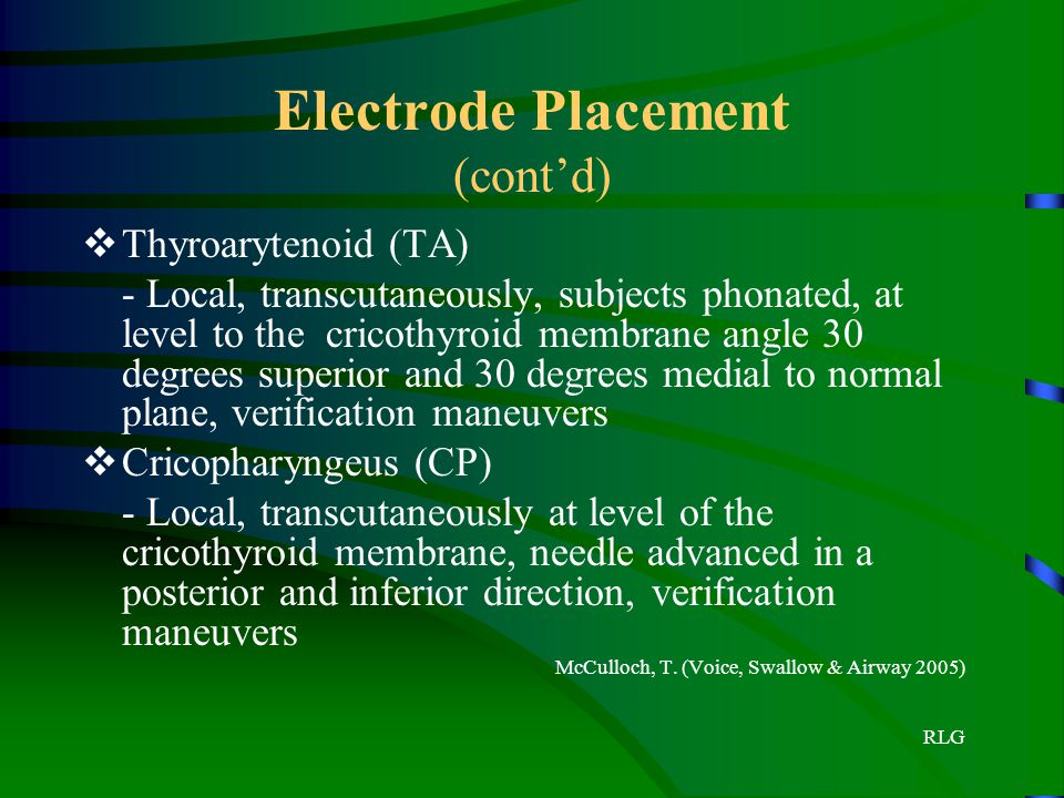Electrode Placement (cont'd)