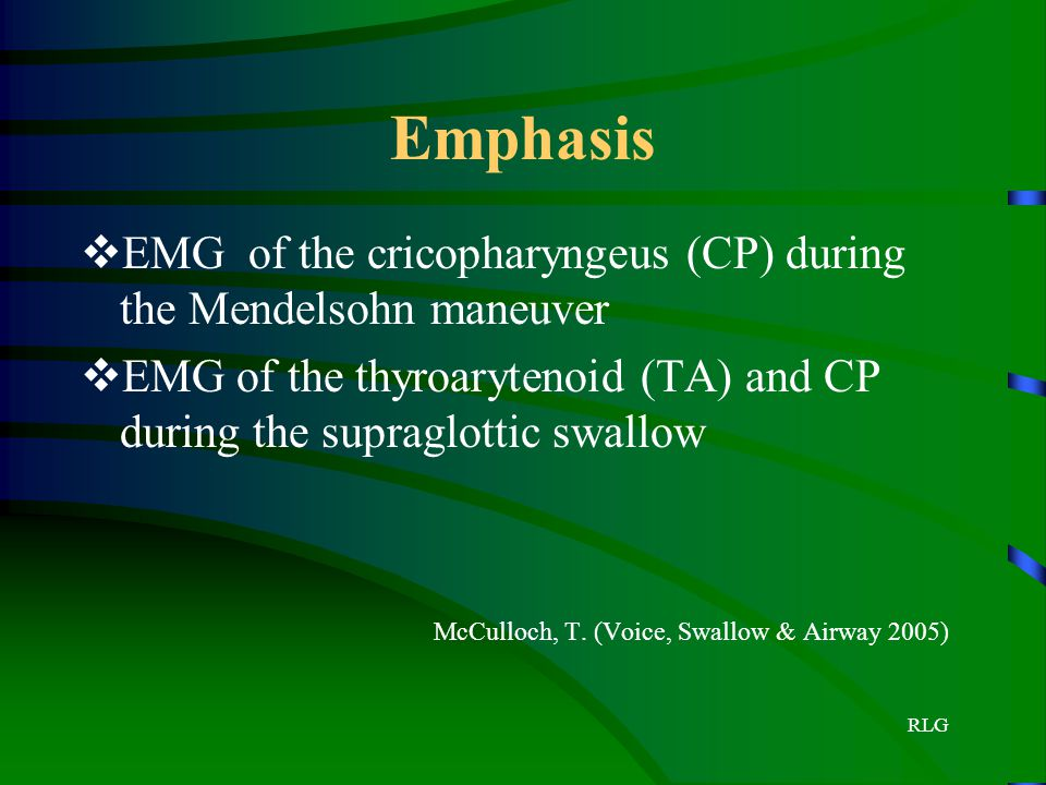 Emphasis EMG of the cricopharyngeus (CP) during the Mendelsohn maneuver. EMG of the thyroarytenoid (TA) and CP during the supraglottic swallow.