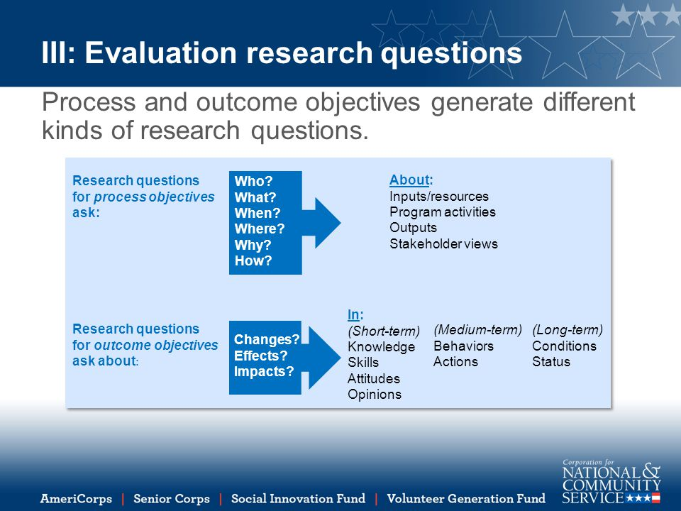III: Evaluation research questions