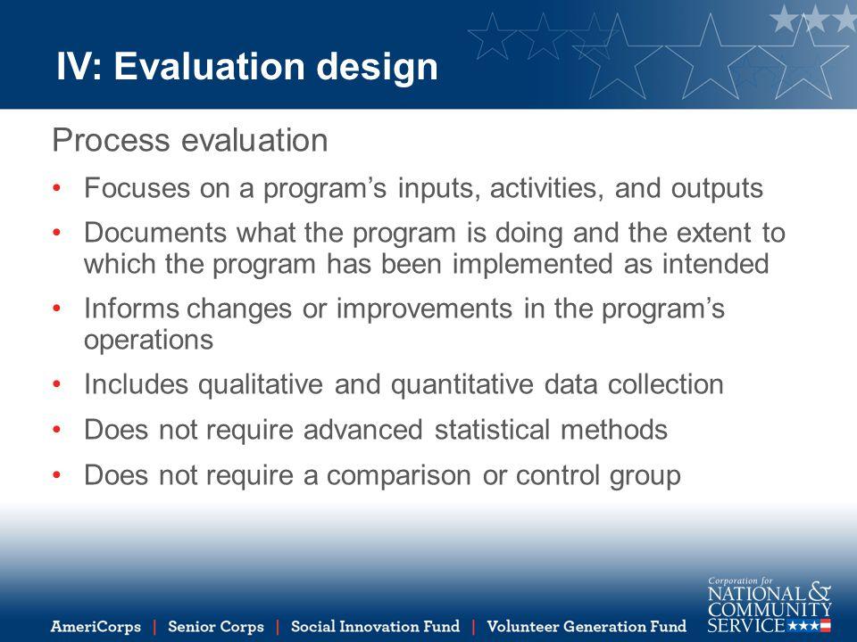 IV: Evaluation design Process evaluation