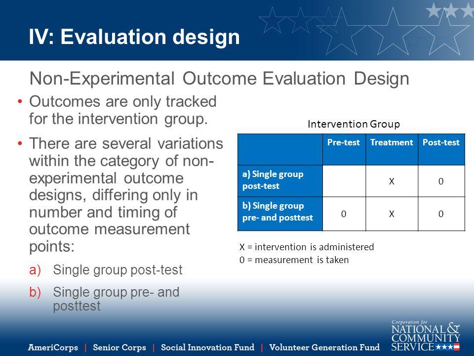 IV: Evaluation design Non-Experimental Outcome Evaluation Design
