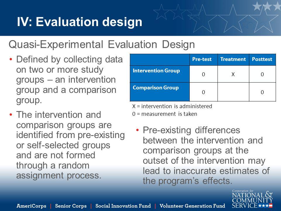 IV: Evaluation design Quasi-Experimental Evaluation Design