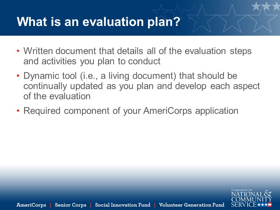 What is an evaluation plan