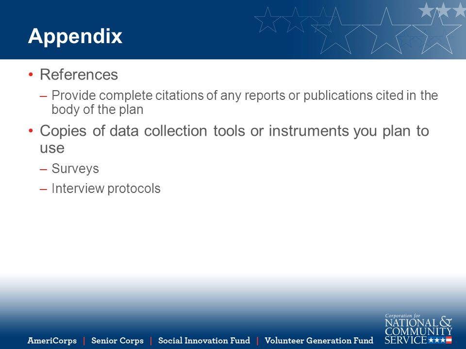 Appendix References. Provide complete citations of any reports or publications cited in the body of the plan.