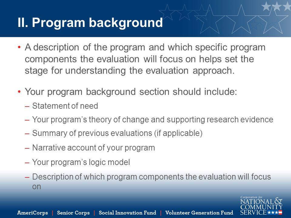 II. Program background