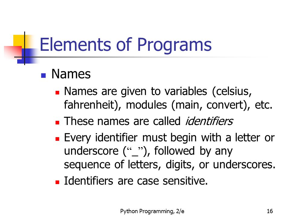 Elements of Programs Names