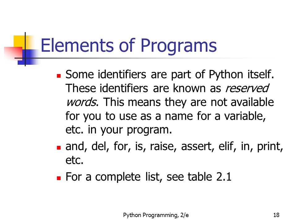 Elements of Programs