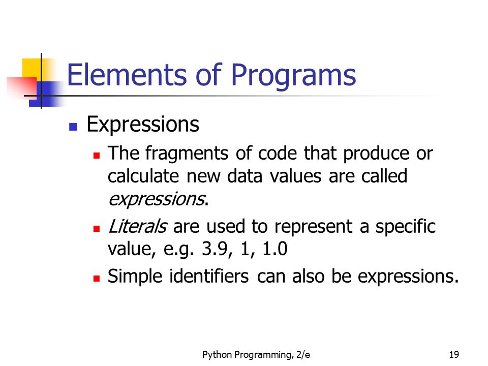 Elements of Programs Expressions