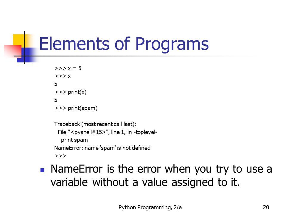 Elements of Programs >>> x = 5. >>> x. 5. >>> print(x) >>> print(spam) Traceback (most recent call last):