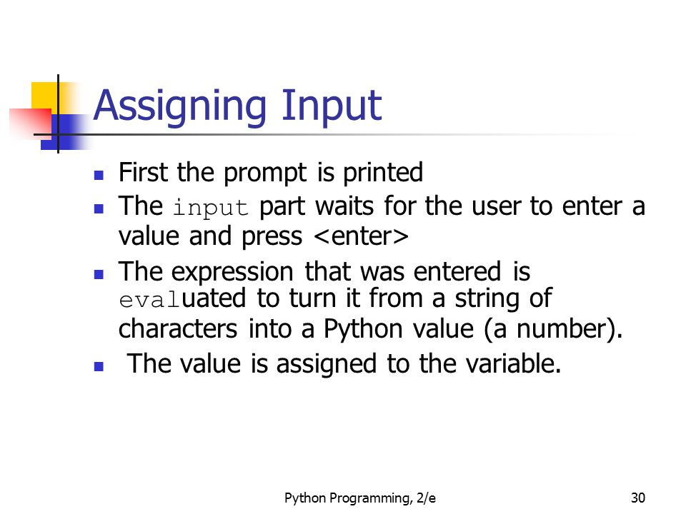 Assigning Input First the prompt is printed