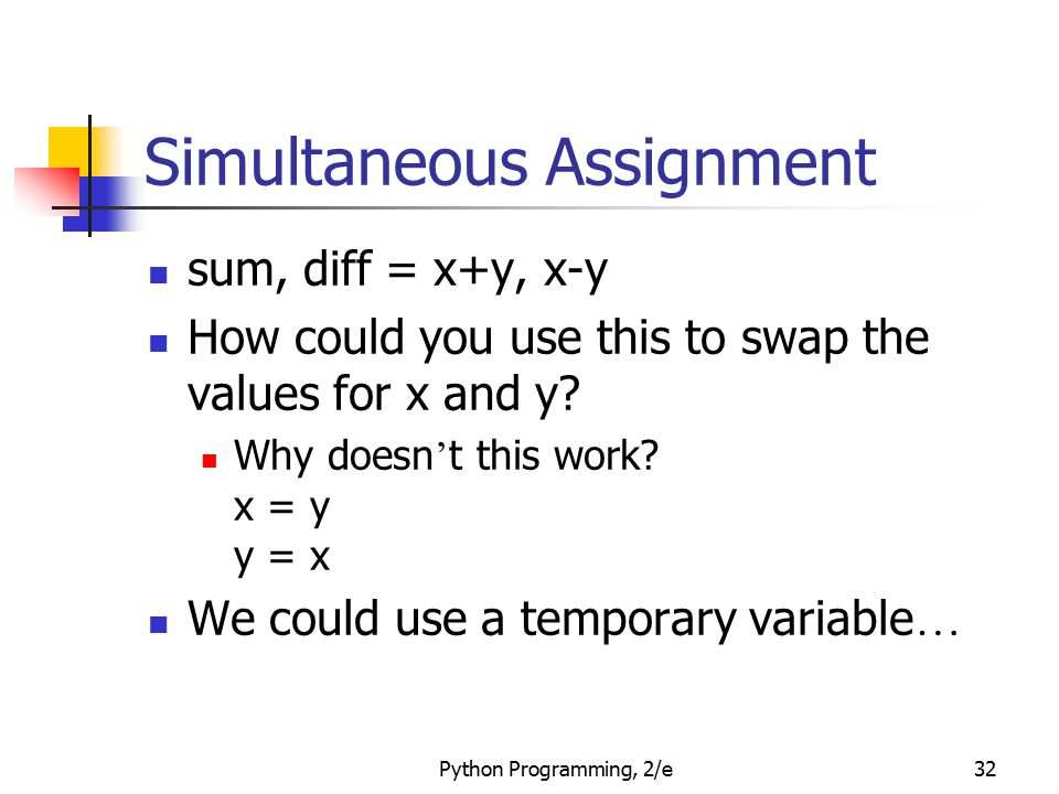 Simultaneous Assignment