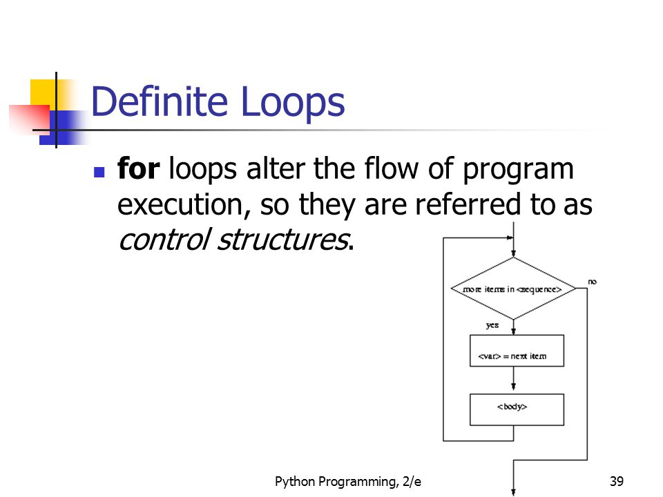 Definite Loops for loops alter the flow of program execution, so they are referred to as control structures.