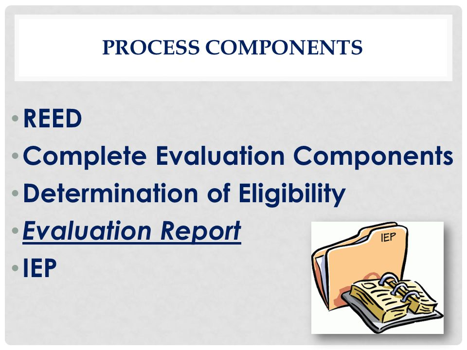 Complete Evaluation Components Determination of Eligibility