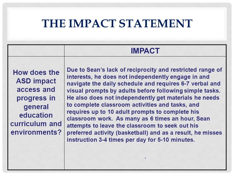 The impact statement IMPACT