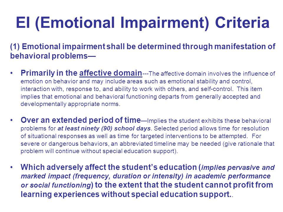 EI (Emotional Impairment) Criteria