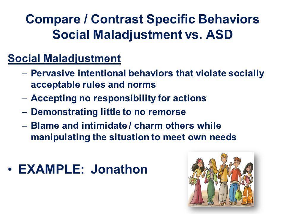 Compare / Contrast Specific Behaviors Social Maladjustment vs. ASD