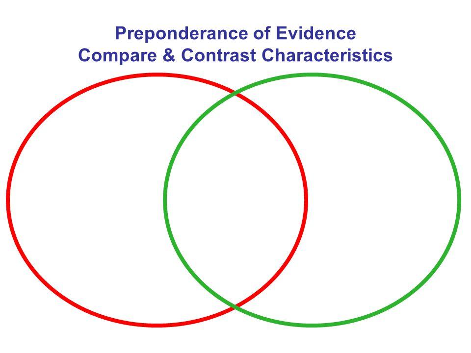 Preponderance of Evidence Compare & Contrast Characteristics